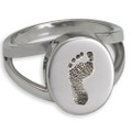 Elegant Oval Footprint Memorial Ring - With Chamber