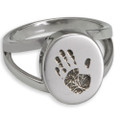 Elegant Oval Handprint Cremation Ring - With Chamber
