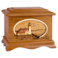 Portland Head Lighthouse Cremation Urn - Mahogany Wood