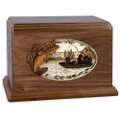 Bass Boat Fishing Wooden Companion Urn - Walnut Wood