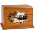 Bass Boat Fishing Wooden Companion Urn - Mahogany Wood