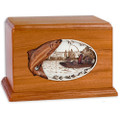 Salmon Boat Fishing Wooden Companion Urn - Mahogany Wood