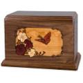Butterfly & Flowers Wooden Companion Urn - Walnut Wood