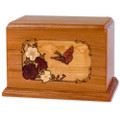 Butterfly & Flowers Wooden Companion Urn - Mahogany Wood
