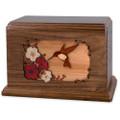 Hummingbird & Flowers Wooden Companion Urn - Walnut Wood