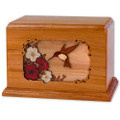 Hummingbird & Flowers Wooden Companion Urn - Mahogany Wood