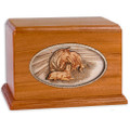 Mahogany Wood Companion Cremation Urn - Forever Love Horses