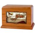 Rustic Paradise Cabin Companion Urn - Mahogany Wood