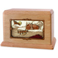 Rustic Paradise Cabin Companion Urn - Oak Wood
