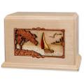 Soft Breezes Saiboat Companion Urn in Premium Maple Wood