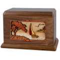 Soft Breezes Saiboat Companion Urn in Premium Walnut Wood