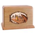 Stream Fishing Wood Companion Urn - Salmon - Oak
