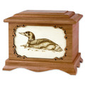 Loon Bird Cremation Urn in Mahogany Wood