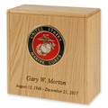 Niche Cremation Urn - Oak Wood with Military Emblem & Engraving