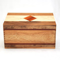 Handcrafted wood urn with diamond inlay and more