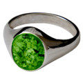 Memorial Signet Ring made with Cremated Ashes - Green