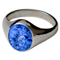 Memorial Signet Ring made with Cremated Ashes - Blue