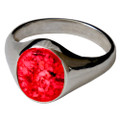 Memorial Signet Ring made with Cremated Ashes - Red