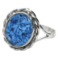Memorial Filigree Ring made with Cremated Ashes - Blue