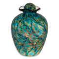 Hand Blown Glass Funeral Urn - Bella - Aegean