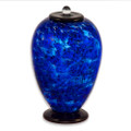 Deco Hand Blown Glass Funeral Urn - Water
