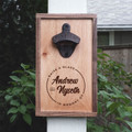 Personalized Walnut and Maple Wood Bottle Opener Sympathy Gift