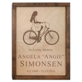 Female Cyclist Wood Cremation Urn Plaque