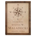 Compass Rose Wood Cremation Urn Plaque