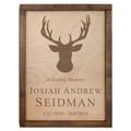 Deer Antlers Wood Cremation Urn Plaque