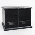 Double Compartment Natural Marble Companion Urn in Black with Inscriptions