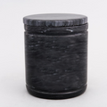 Large Round Marble Pet Urn in Black