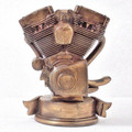 Back side of motorcycle engine bust