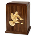 Walnut wood urn for ashes with maple doves inlay