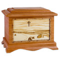 Footprints in the Sand Beach Cremation Urn - Mahogany Wood