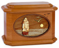Sailing Ship Urn in Mahogany Wood