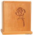 Single Rose Cherry Wood Urn