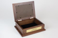 Wooden keepsake box with hinged lid opening