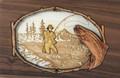 Wood Companion Urn with 3 Dimensional Inlay Art Scene