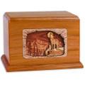 Howling Wolves Companion Cremation Urn - Mahogany