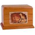 Howling Wolves Companion Cremation Urn - Mahogany