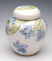 Porcelain Urn with Hand Painted Flowers | Blue
