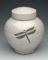 Dragonfly Raku Urn | White Crackle
