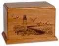 Laser Carved Lighthouse Urn - Mahogany