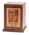 Photo Engraved Cremation Urn | Walnut | Vertical