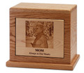Photo Engraved Cremation Urn | Oak | Horizontal