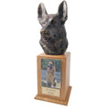 German Shepherd Pet Urn Tower in Oak