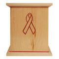 Maple wood urn with Awareness Ribbon (Red)