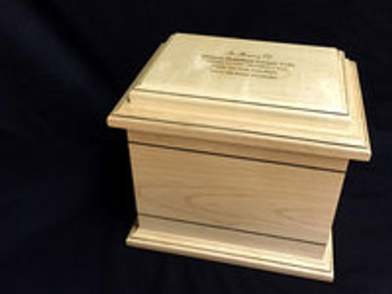Custom Engraving on Maple Wood Cremation Urn