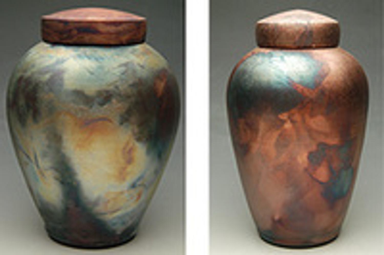 Two Brilliant Handmade Raku Fired Ceramic Cremation Urns