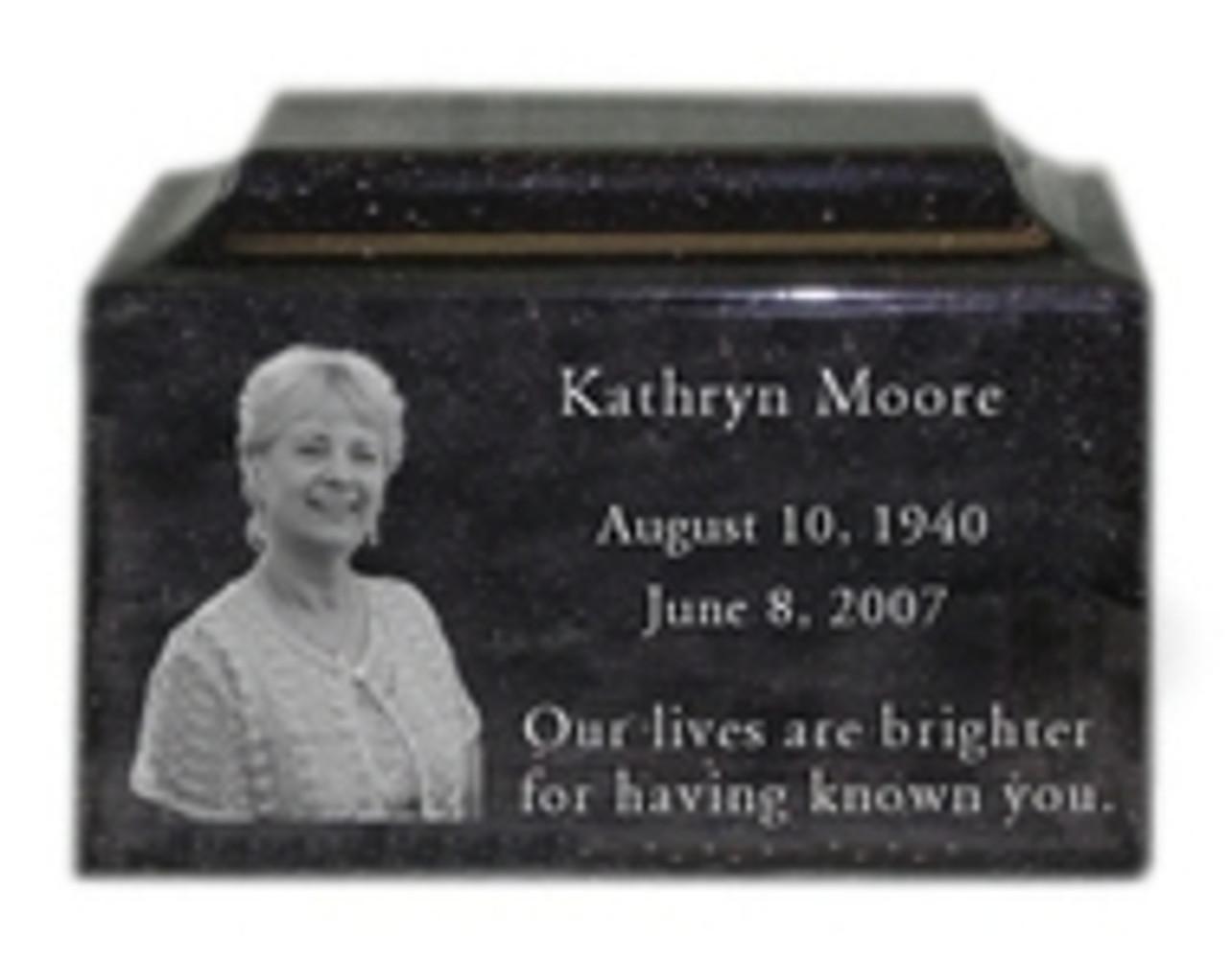 Spotlight: Engraved Photo Granite Cremation Urns